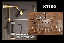 22 Peice Fly Tying Tool Kit  w/Rotary  Vise - KT180