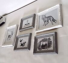 joblot 5x Vintage Shabby Chic Animal Collection Picture Frames Fox Horse Deer...