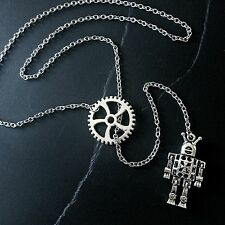 Steampunk Robot Gear Necklace Lariat Y-Drop--Stainless Steel Oval Cable Chain