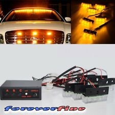 Amber 18 LED Emergency Vehicle Strobe Flash Lights for Front Grille/Deck or Rear