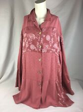 CITRON Faded Red Silk Button-up Shirt Tunic Large Asian Print Langenlook
