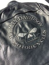 Harley Davidson Men's Reflective Willie G Skull Leather Jacket XL Black