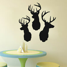 Three Deer Head Wall Decal Animal Room Decalration Sticker For Home Living Room