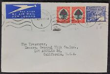 South Africa 1947 Airmail Cover, Johannesburg? Cancel to Los Angeles, USA