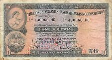 Hong Kong  $10   12.2.1960  P 182a  Series HE  circulated Banknote , A11