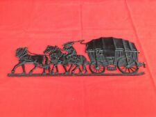 Marked Cast Brass/Bronze Horse Drawn Stage Coach Wall Plaque - R.E. Baker & Co.