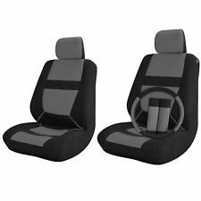 Car Seat Covers for Front Bucket Seats Black / Grey 9pc w/Steering Wheel Cover