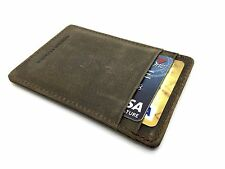 Genuine leather wallet vintage credit card holder mini small thin IDcase 4 slots