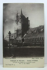 POSTCARD: Fire of the Halles, Ypres, Belgium, 1914-1915 WWI; Unposted