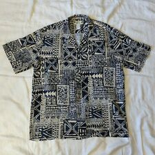 Two Palms Mens Hawaiian Shirt Tapa Style Print Blue/Cream L LARGE Aloha TIKI VTG