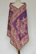 Double-Side Pashmina Women's Shawl Scarf Wrap Scarves Cashmere Purple Peony