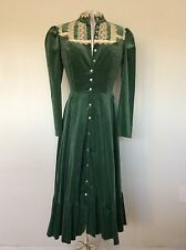 Women's Vintage Green Velvet Dress With Lace Gunne Sax