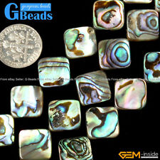 """12mm Natural Rainbow Abalone Shell Square Flatback Beads For Jewelry Making 15"""""""