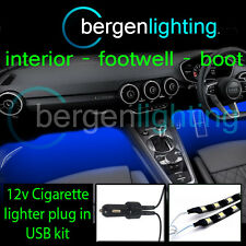 2X 500MM BLUE USB 12V LIGHTER INTERIOR KIT 12V SMD5050 DRL MOOD LIGHTING STRIPS