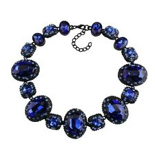 NEW BEAUTIFUL ZARA BLUE FACETED SPARKLING STONES STATEMENT NECKLACE
