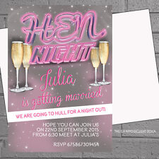 Personalised Neon Pink Hen Night Hen Champagne Party Invitations x 12 H0420