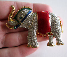 Colorful ESTATE Vintage Rhinestone Elephant Circus Royalty Jewelry Pin Brooch