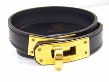 100% Authentic HERMES Kelly Black Gold Leather Double Bracelet Q90