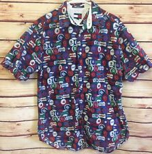 VINTAGE Tommy Hilfiger Button Up Shirt Mens Medium BASEBALL All Over Print NICE!