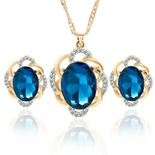 Women Fashion Rhinestone Necklace Crystal Earrings Charm Jewelry Set