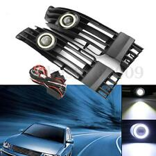 Front Bumper Grille LED Fog Light Angel Eyes DRL Lamp For VW Passat 2001-2005