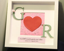 Personalised 3rd leather wedding anniversary gift frame. Real leather heart