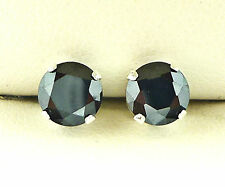 BLACK DIAMOND SILVER STUD EARRINGS 6mm ROUND BLACK DIAMOND CREATED STONE s1013