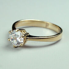 14K solid yellow gold gorgeous 6mm natural White Topaz wedding ring