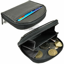 Black Real Leather Zip Coin Purse Wallet Tray Front Pocket Pouch Holder Credit