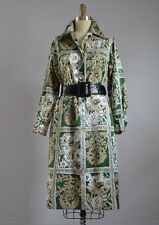 VINTAGE LANVIN Paris GREEN & WHITE BATIK PRINT LONG SLEEVE SHIRT DRESS Mint !!