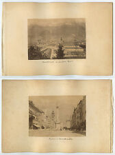2 ALBUMENT PRINTS ON BOARD INNSBRUCK MOUNTAINS + SQUARE