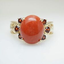 Vintage Orange Jadeite Jade & Spessartite Garnet Ring 14k Yellow Gold Estate