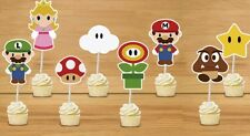 SUPER MARIO LARGE CUPCAKE TOPPERS 12 PCS/ PARTY/ BIRTHDAY/ MUSHROOM LUIGI