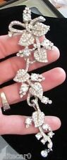 """RARE Vintage Clear Articulated Brooch Pin 5.5"""" 1940's Dangle Figural Leaf Flower"""