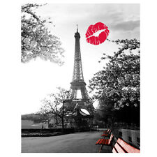 Paris Eiffel Tower + Red Lip Bathroom Waterproof Polyester Fabric Shower Curtain