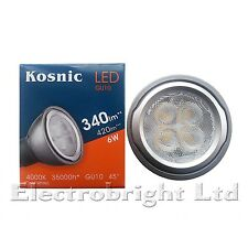 4x Kosnic 6w watt LED GU10 Power COOL White 4000k Superbright spot bulb 420lm UK