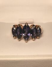 10K Purple Iolite 5 Stone 2ctw Cathedral Style Ring Size 8