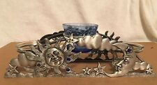 Pewter Celestial Sun Moon and Stars Candle Holder, 3 Candles Included
