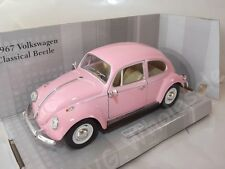 "Volkswagen Beetle Pink Die Cast Metal Model Car Large 7"" Kinsmart Collectable"