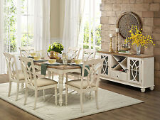 AMBROSE - 7pcs Cottage White Rectangular Dining Room Table Chairs Set Furniture