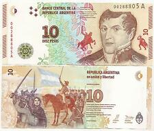 ARGENTINA  BANKNOTE NEW DESIGN  $10.- P-NEW ND SERIE A UNC LOW # .