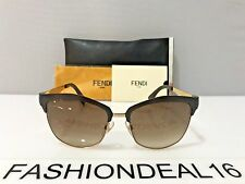 New FENDI Authentic Brown Gold FF 0051/S MOCCC 55mm Sunglasses