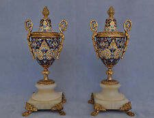 Paire de Cassolettes Vases Bronze Doré et Emaux Cloisonnés Napoléon III  XIXème