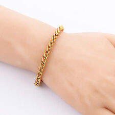 Womens Solid 18K Yellow Gold Filled Twist Rope Chain Bracelet Double