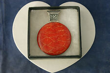 "Beautiful Silver Pendant With Red Coral 34.2 Gr.8x6 Cm. Wide 18"" Imitation Cord"