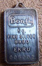 Bonji Ekru 5 Gr Gram 999 Fine Silver Bar Rare Serial 005002