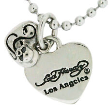 Ed Hardy Heart and Skull Charm Necklace in Stainless Steel and Onyx