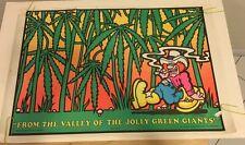 Vintage Black Light Poster Valley Jolly Green Giants Hanson Saladin mushroom