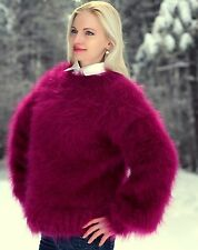 SUPERTANYA PURPLE Hand Knitted Mohair Sweater Handcrafted Fuzzy Pullover Jersey