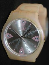 "Swatch 2008 Jelly in Jelly ""Pearly Tears"" Watch in Case SUJV101 New Battery"